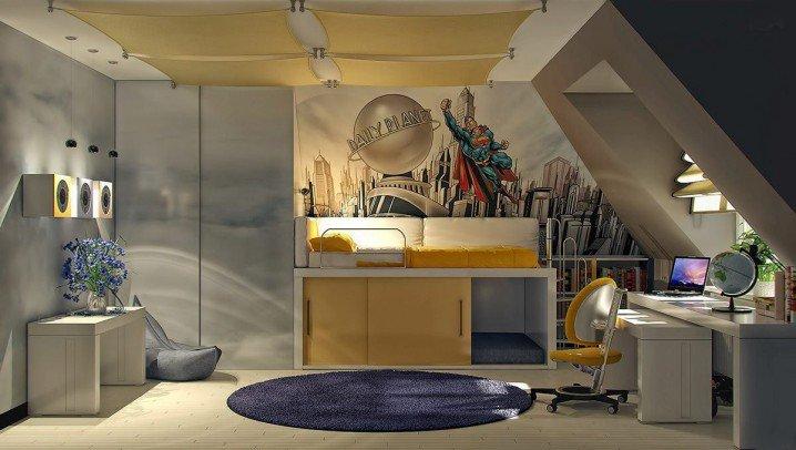 Pokój o wielu funkcjach - sypialnej, biurowej i dziennej