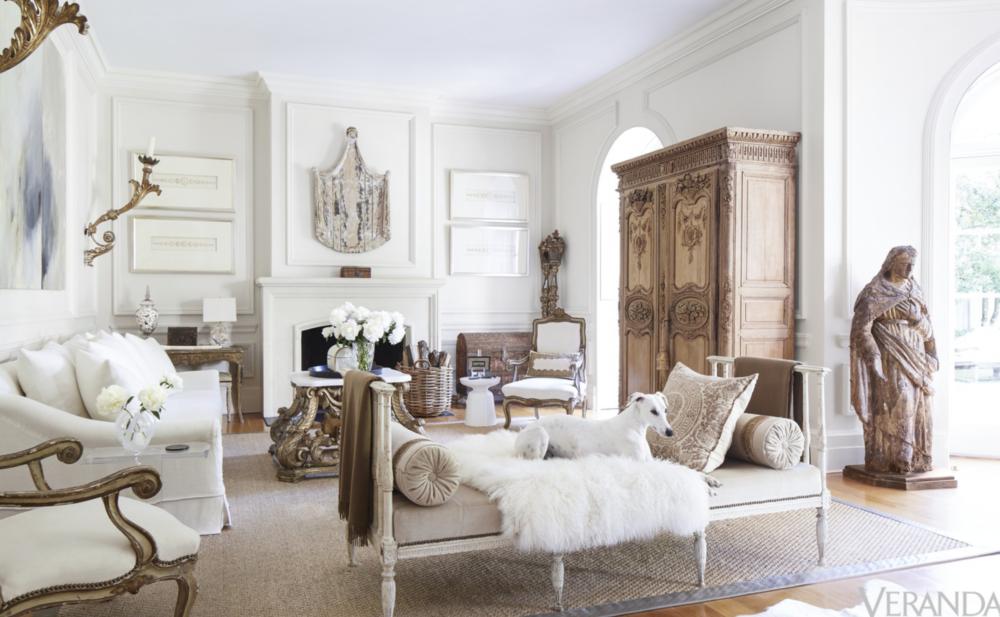 Salon w stylu eklektycznym z elementami prowansji