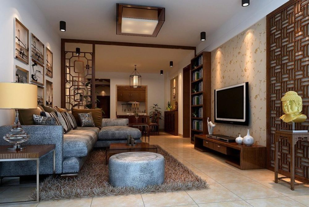 Salon w  stylu minimalistycznym z elementami orientalizmu