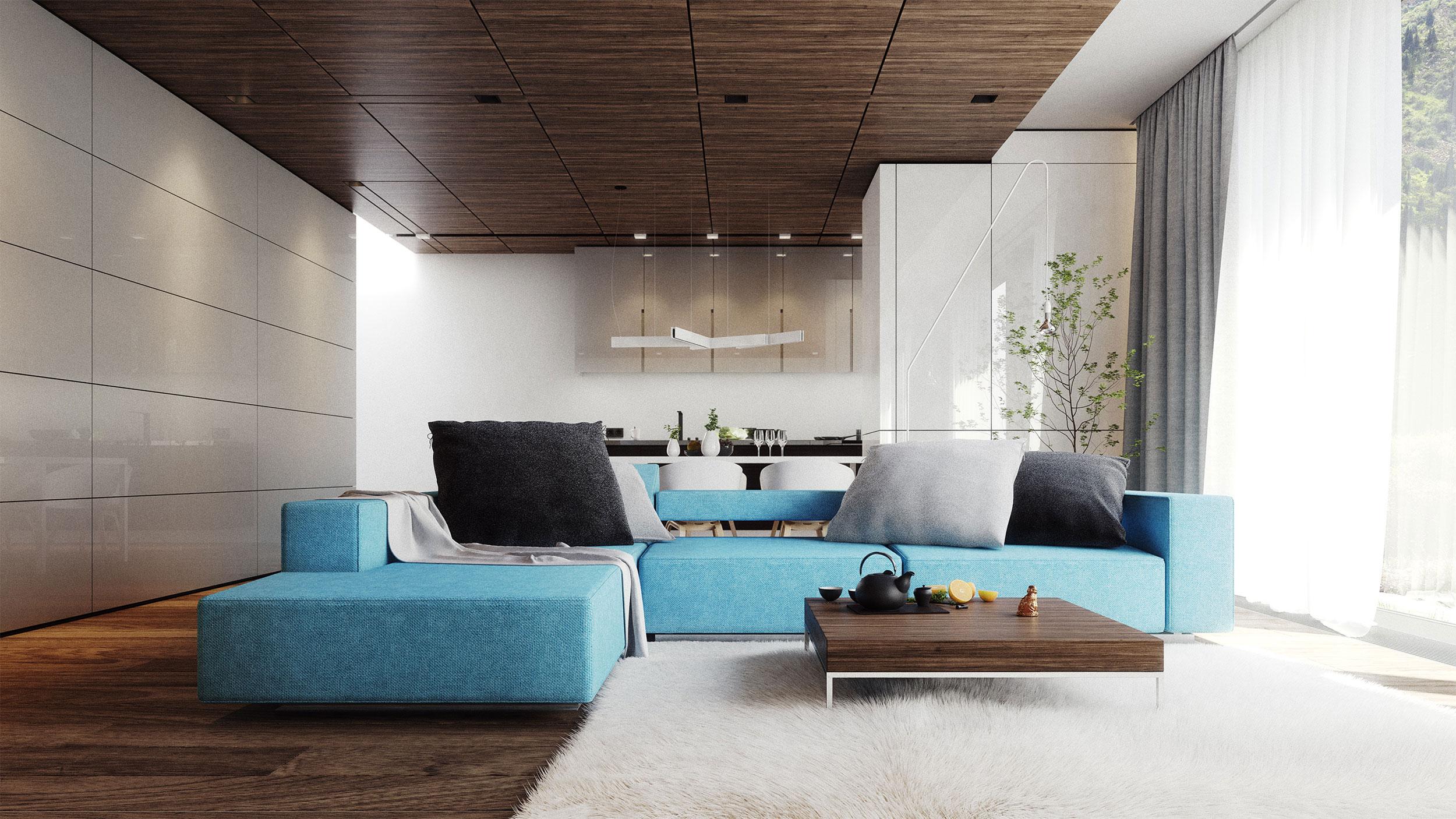 Salon z drewnem i błękitami
