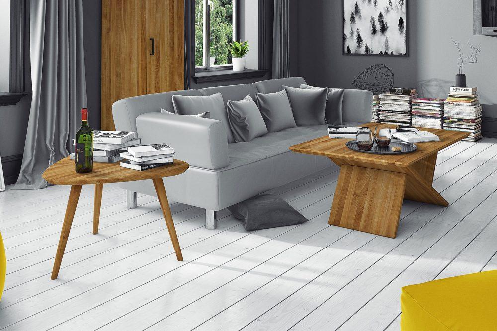 Zbliżenie na stoliki kawowe z drewna