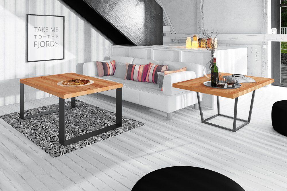 Salon w skandynawskiej, ale przytulnej aranżacji z wykorzystaniem mebli drewnianych