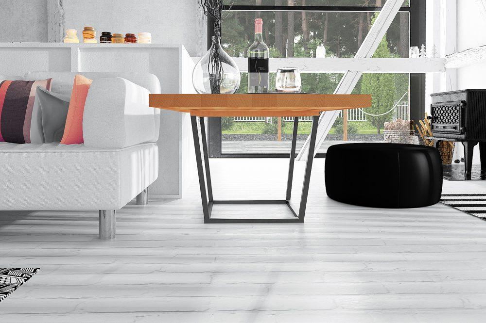 Stolik kawowy z nowej kolekcji The Beds - połączenie stalowych nóg z drewnianym blatem