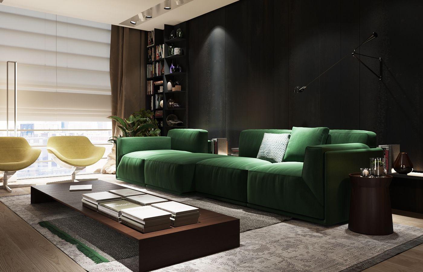 Salon z intensywnie zielonym zestawem wypoczynkowym
