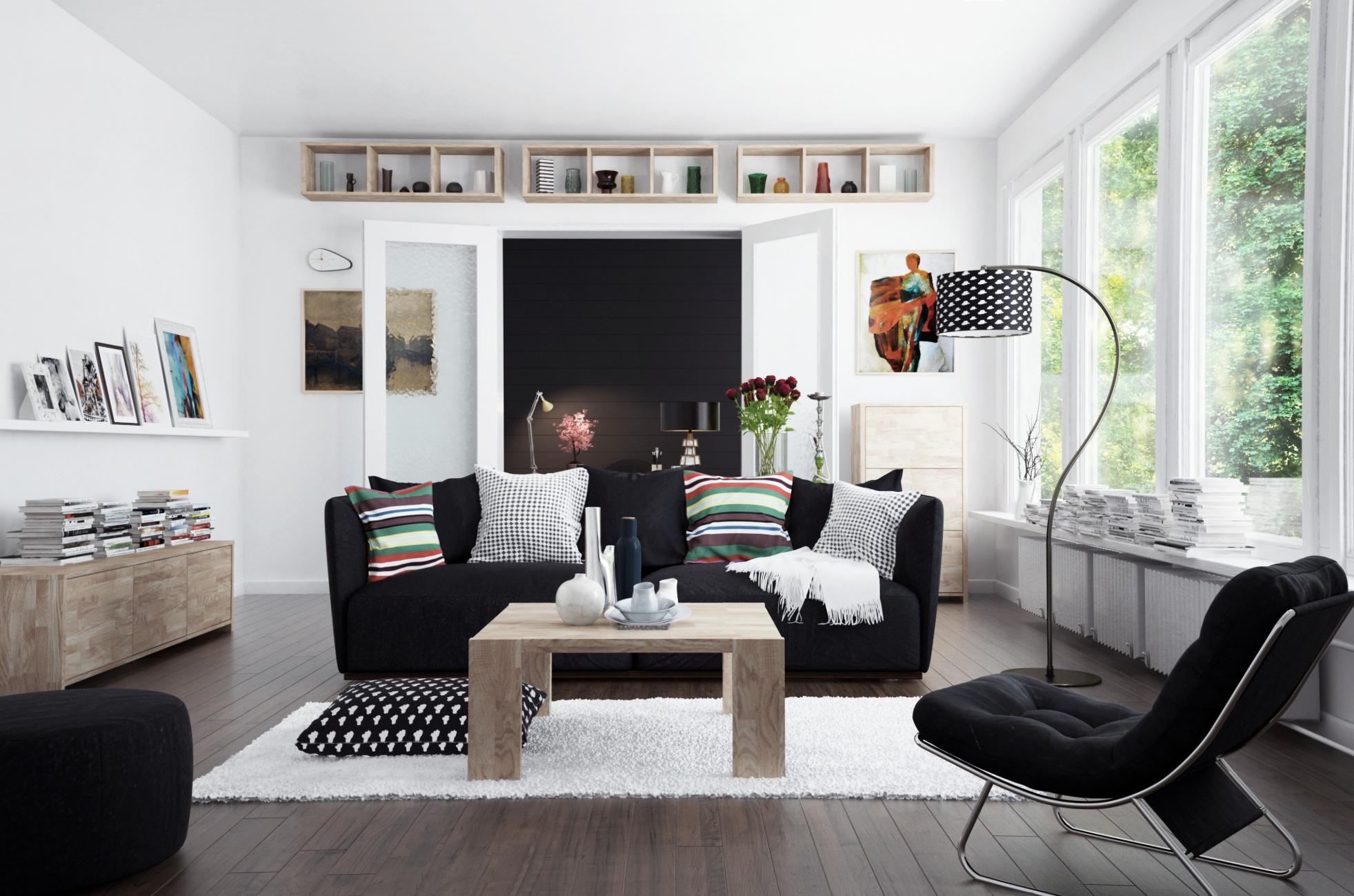 Salon z meblami w jasnych barwach z kolekcji James The Beds
