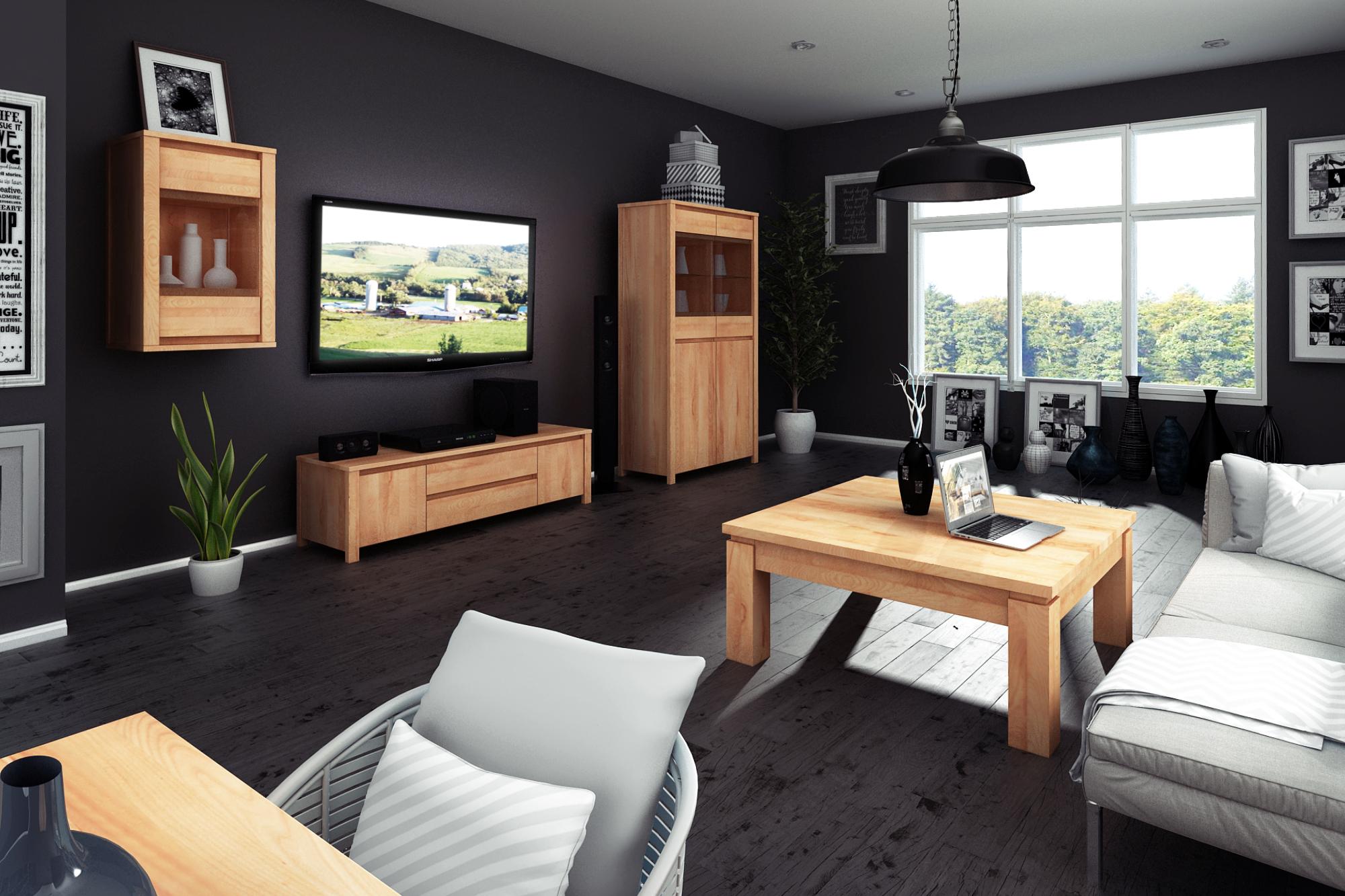 Meble drewniane z kolekcji Vinci The Beds w salonie z czarnymi ścianami
