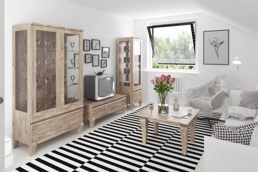 Salon z kolekcji mebli drewnianych Bona