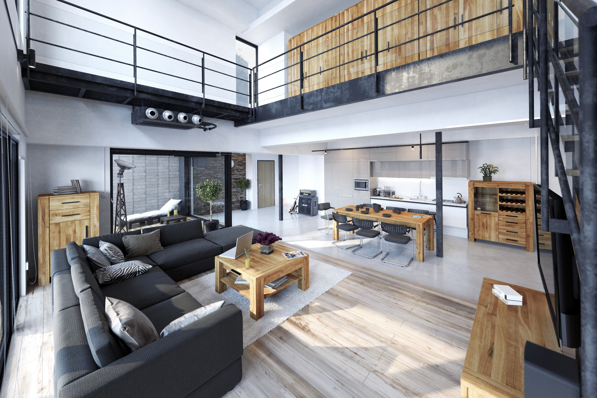 Salon z kolekcji mebli drewnianych Cubic