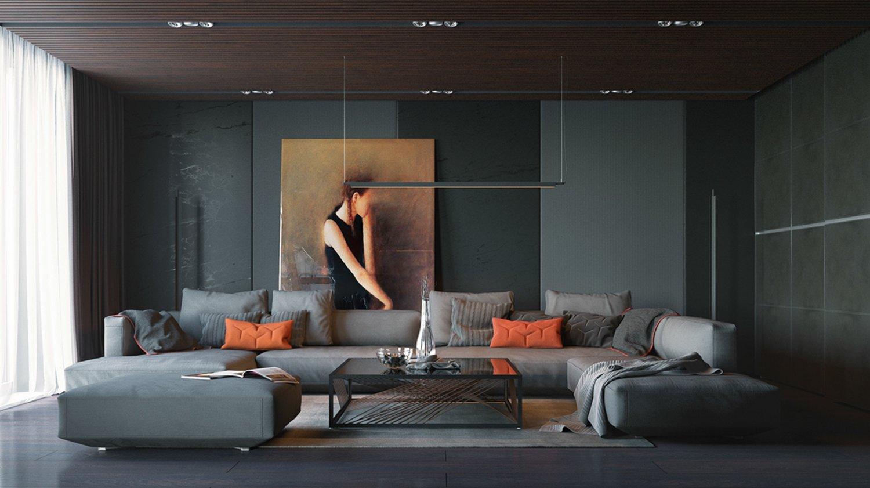 Graficzny salon z ciemnymi ścianami