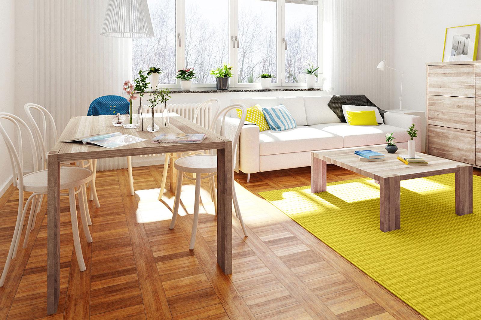 Salon z jadalnią w ciepłych kolorach