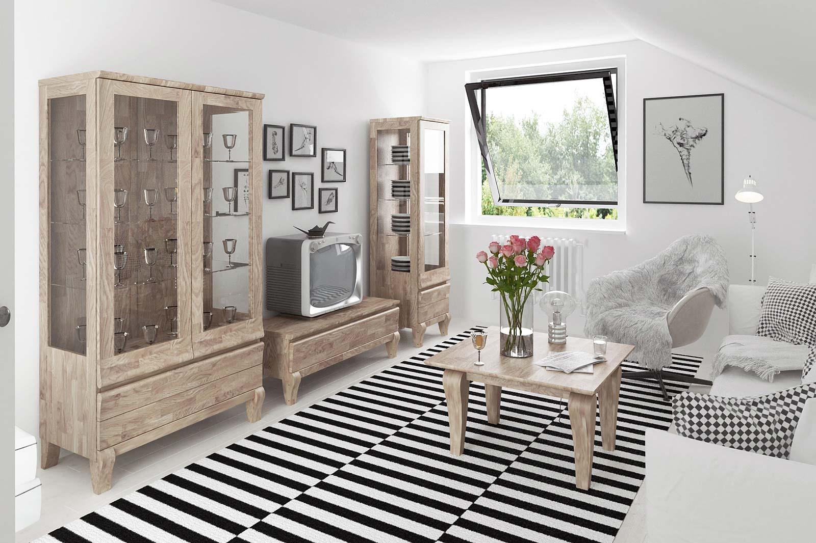 Salon w stylu klasycznym z drewnianymi meblami