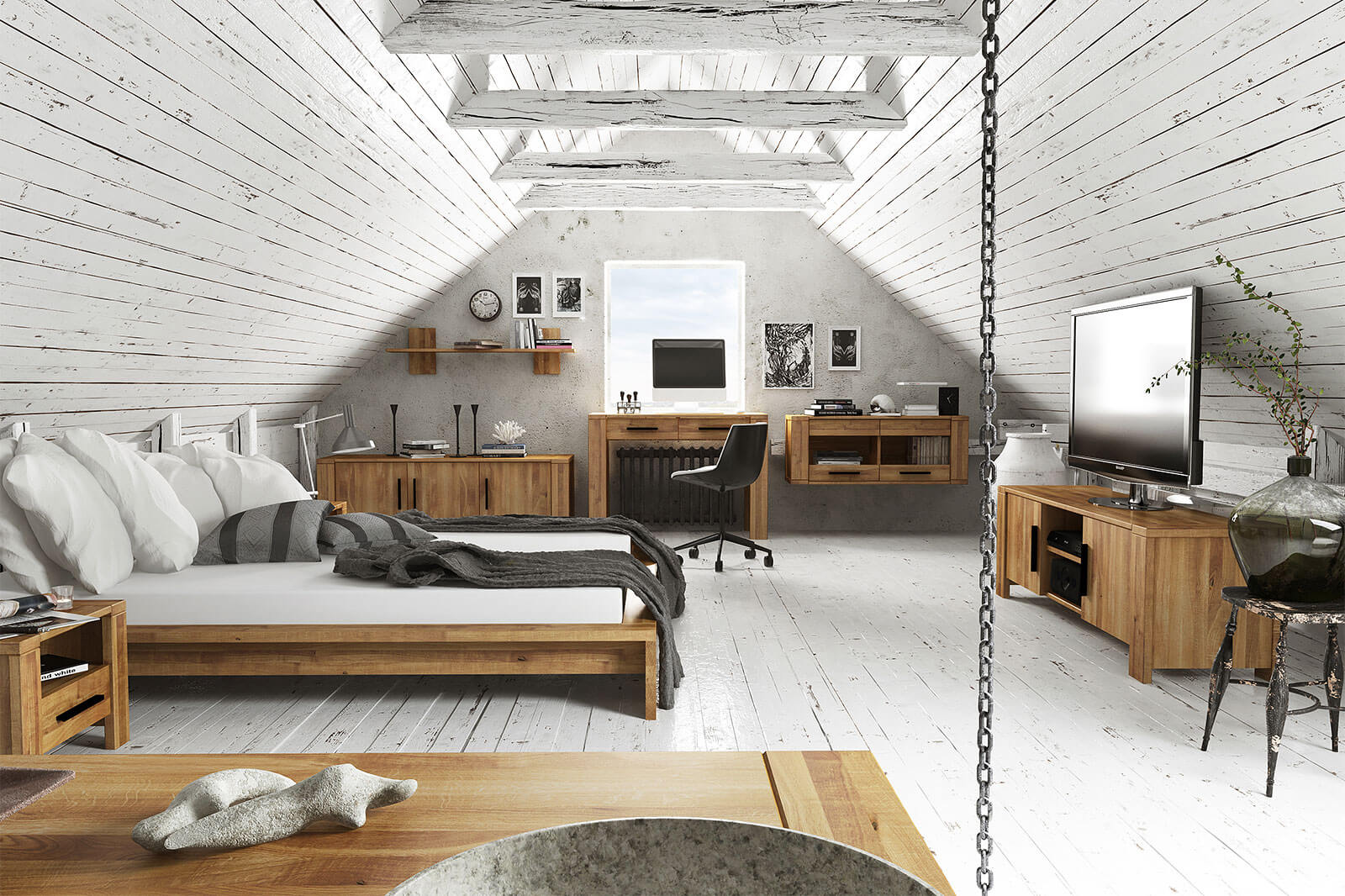 Sypialnia w stylu rustykalnym z drewnianymi meblami