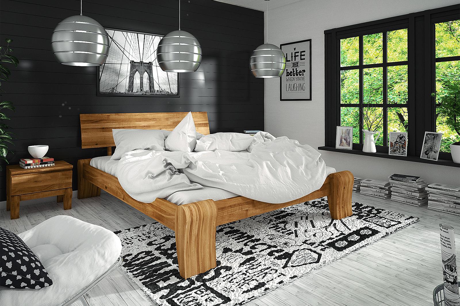 Sypialnia z drewnianym podwójnym łóżkiem