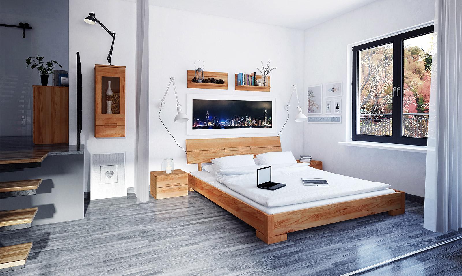Drewniane łóżko podwójne do sypialni