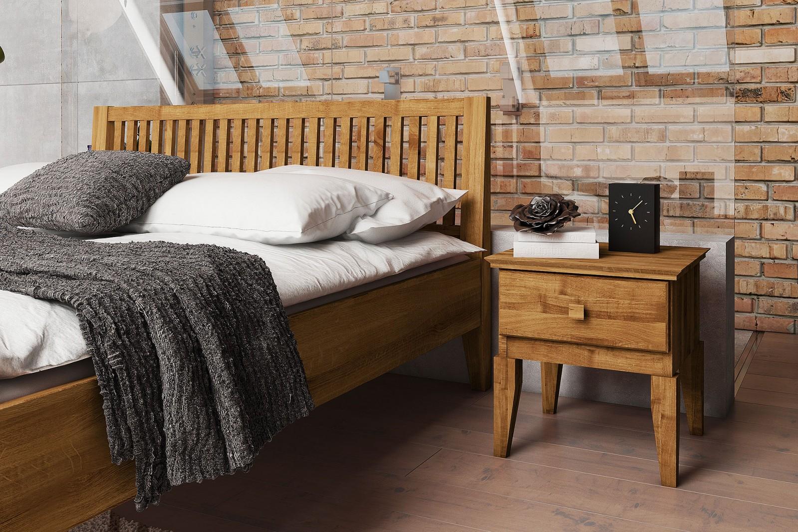 Drewniane łóżko Odys w stylu rustykalnym