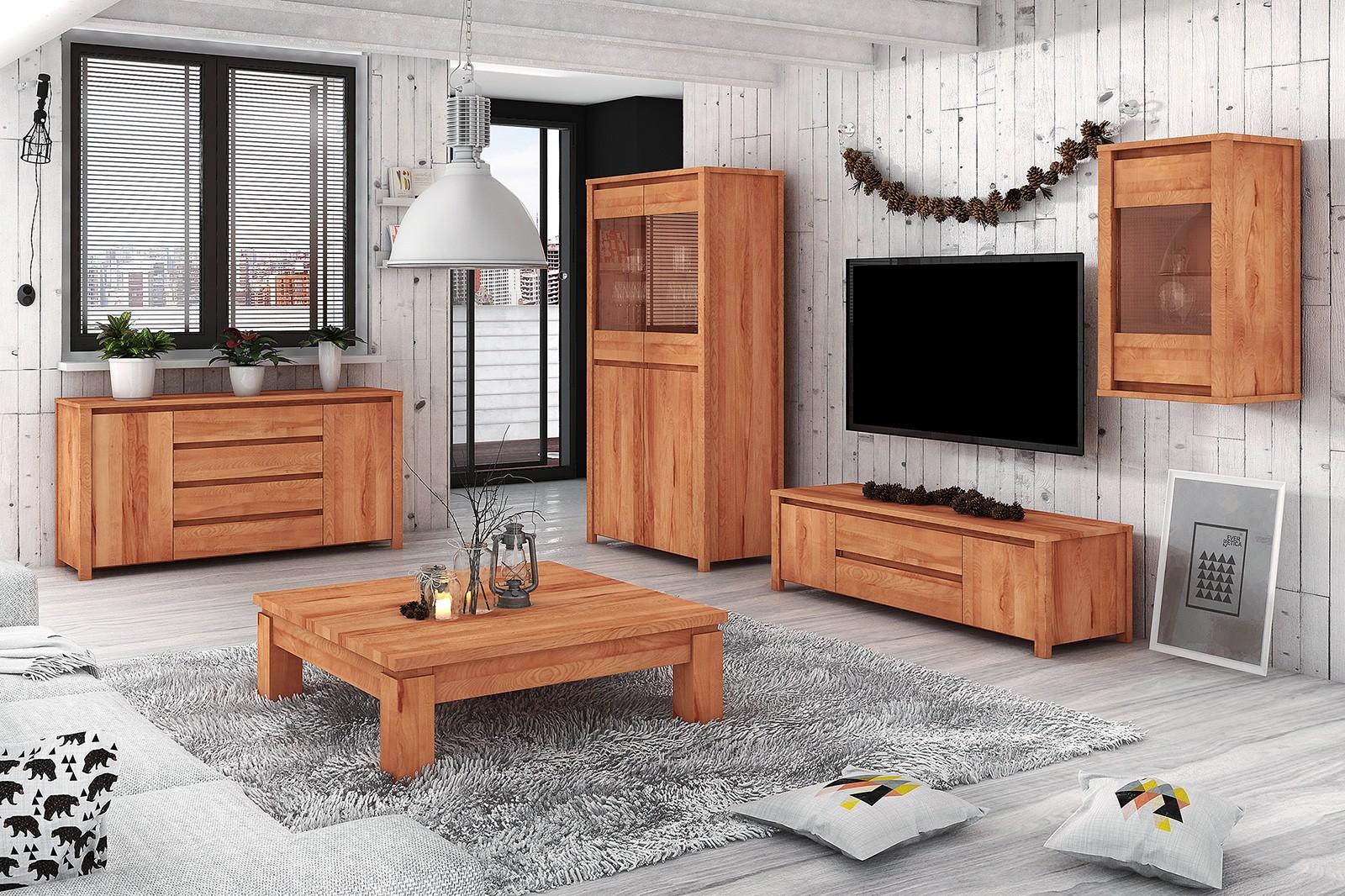Drewniane meble do salonu aranżacja