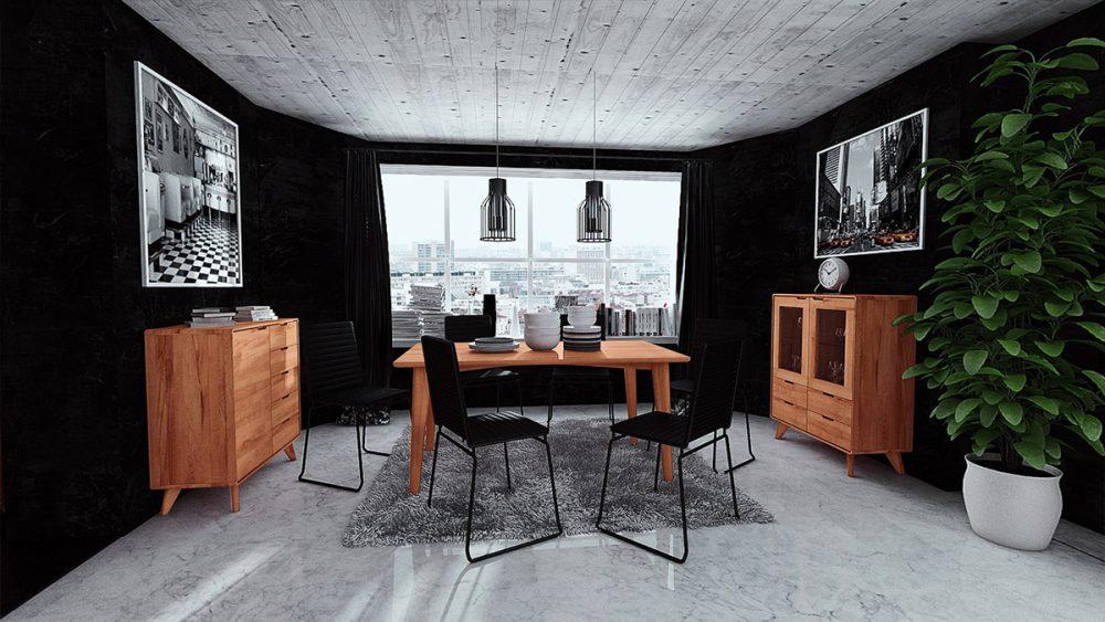 Salon i jadalnia w czerni - PANORAMA 360°