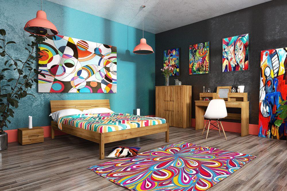 Arystyczna sypialnia w kolorach tęczy - PANORAMA 360°
