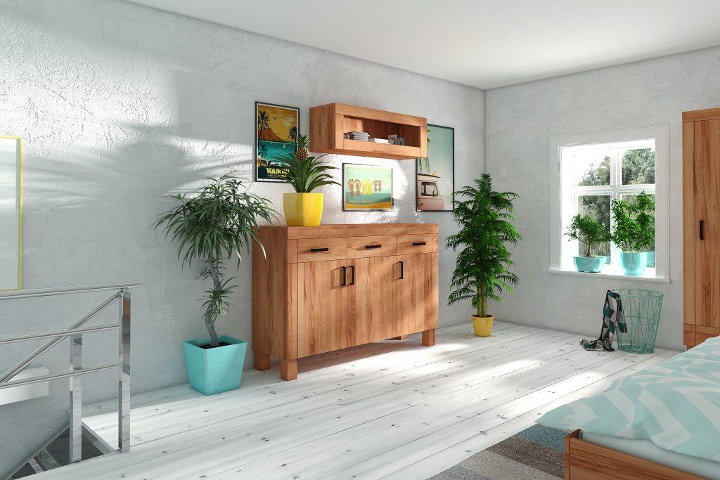 Komoda drewniana i półka wisząca - meble ekologiczne Cubic