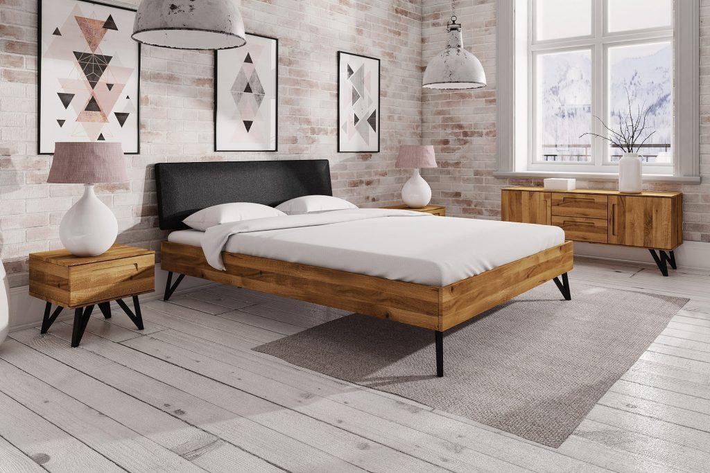 Łóżko drewniane z metalowymi nogami z kolekcji Golo