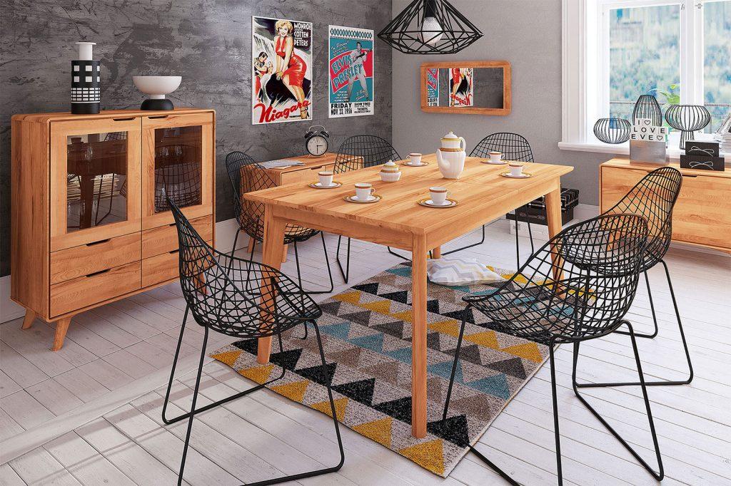 Stół z drewna bukowego i inne meble z kolekcji Greg