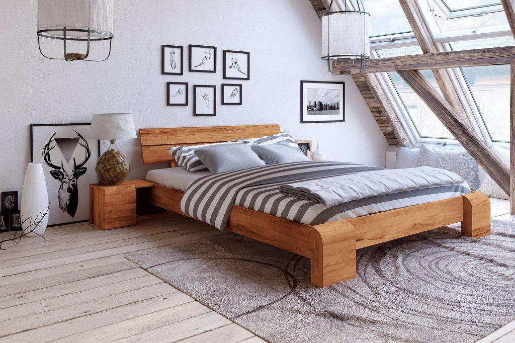 Łóżko wysokie Seti z drewna bukowego