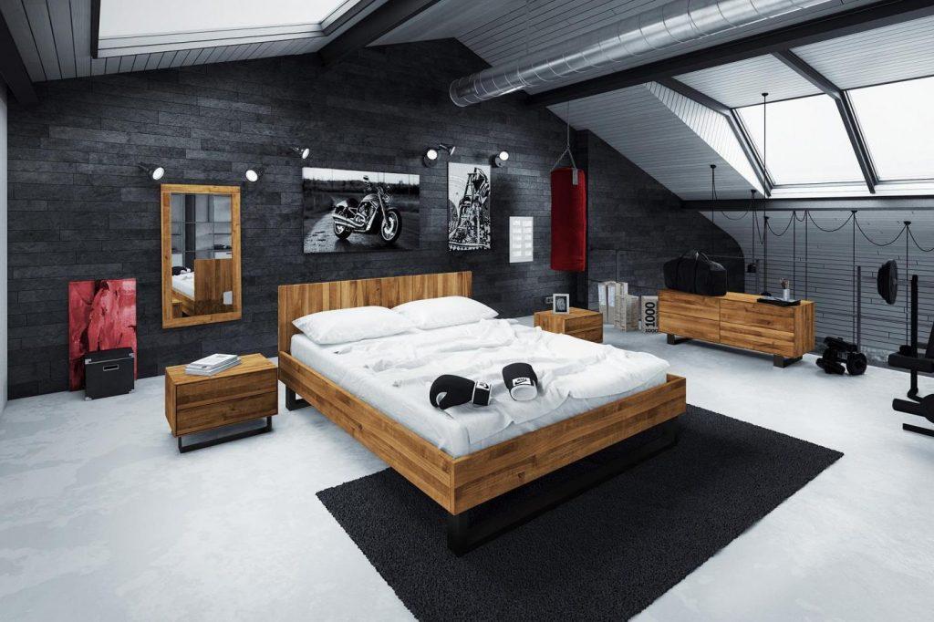 Industrialne meble do sypialni z kolekcji Steel