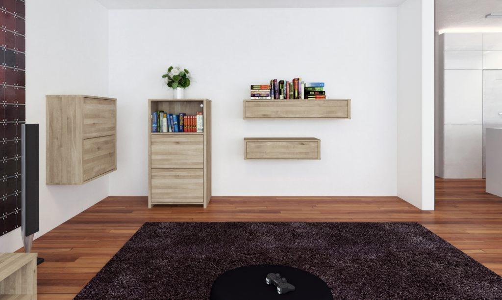 Drewniane szafki wiszące do salonu