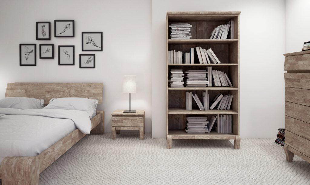 Drewniane meble do sypialni z kolekcji Bona