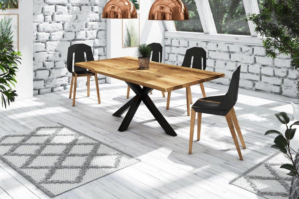 Stół drewniany Adao z naturalnym blatem na metalowych nogach