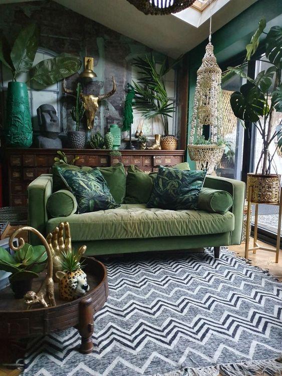 Aranżacja salonu miejska dżungla