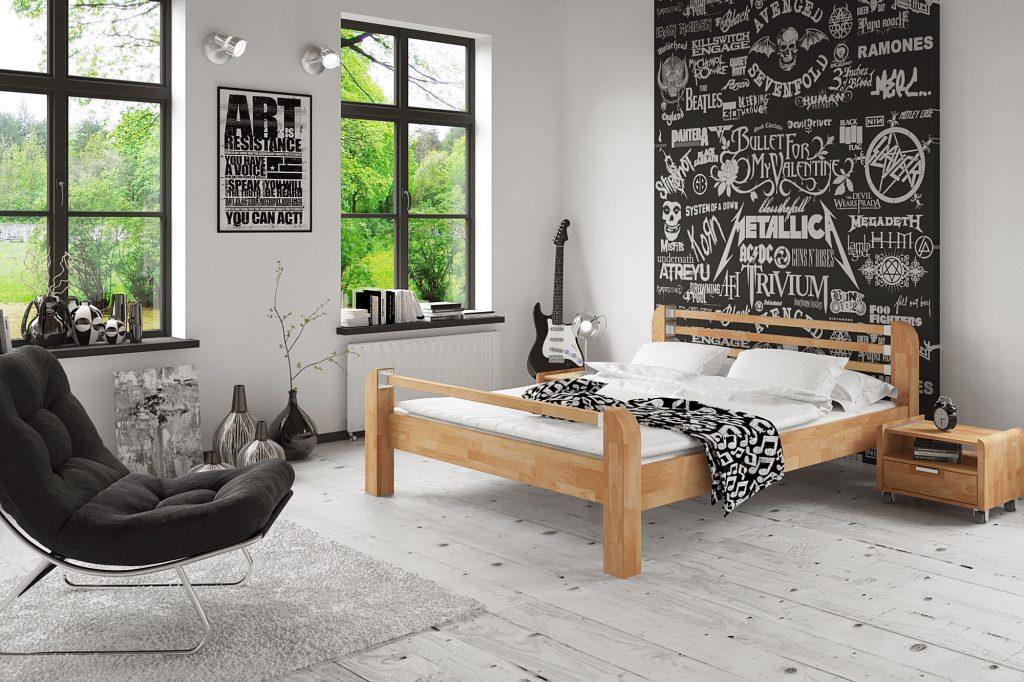 Łóżko z drewna litego - aranżacja sypialni młodziezowej