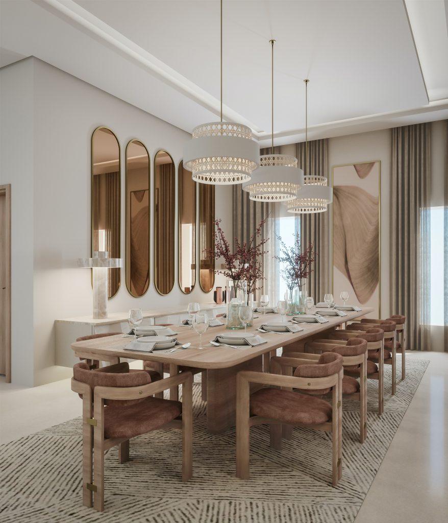 eleganckie wnętrza - drewniany stół w jadalni otwartej na salon