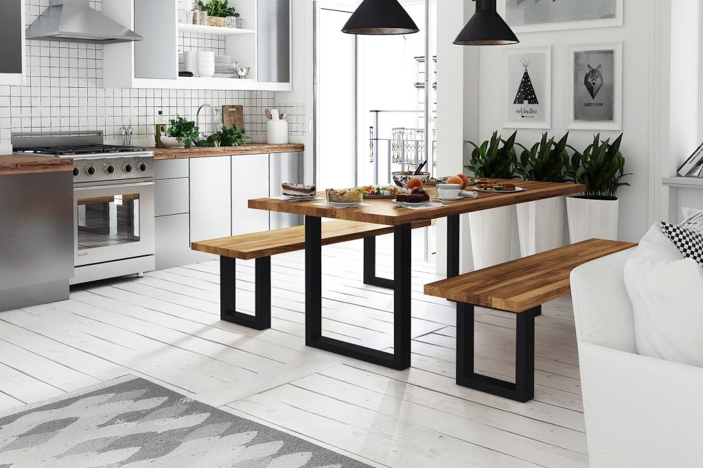 Otwarta kuchnia i jadalnia - meble z kolekcji Steel