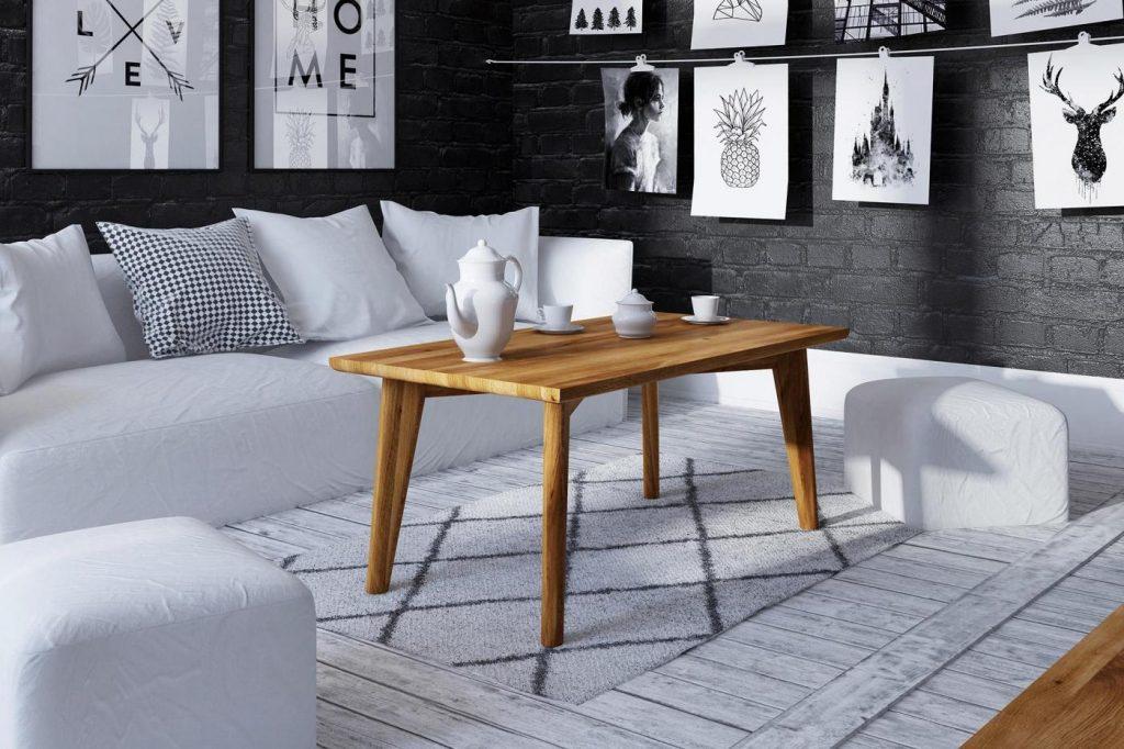 Stolik kawowy z litego drewna