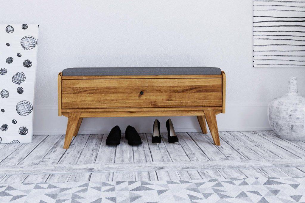 Tapicerowana ławka do przedpokoju - kolekcja Retro, model z szufladą