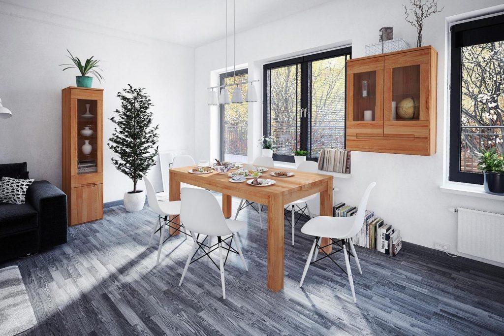 Plastikowe krzesła do drewnianego stołu