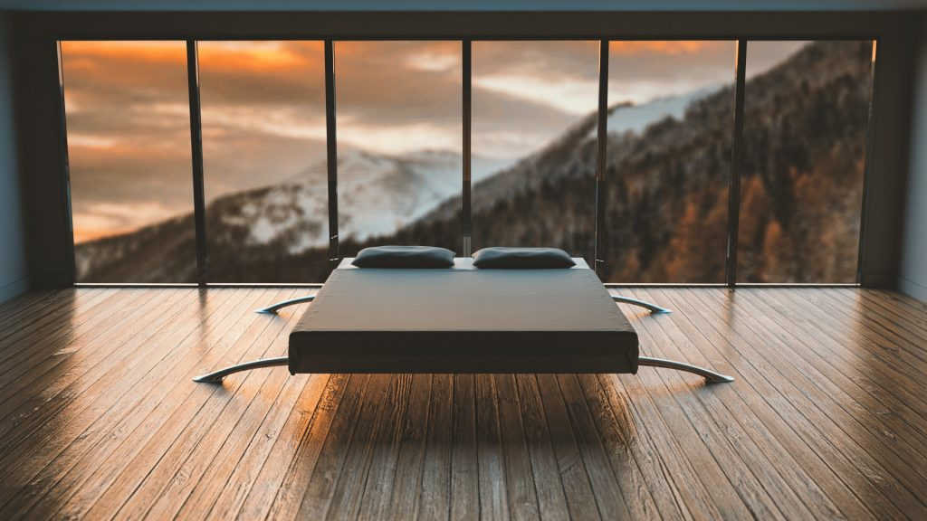 łózko japońskie - minimalistyczna sypialnia