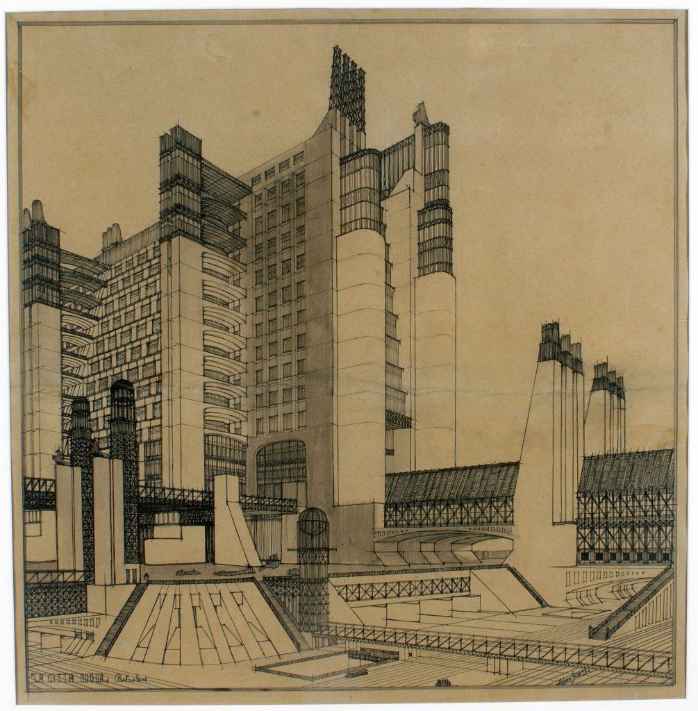 House with external elevators (1914) Szkic autorstwa Antonio Sant'Elia