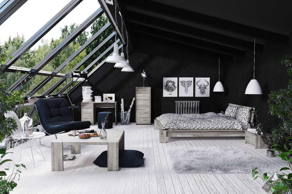 Szare drewno i łóżko drewniane