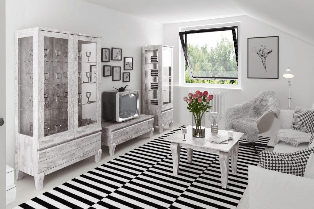 Meble dębowe bielone - kolekcja Bona do salonu -