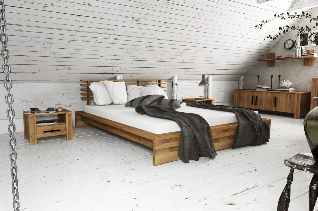 Meble do sypialni Cubic - łózko, szafka nocna, komoda niska