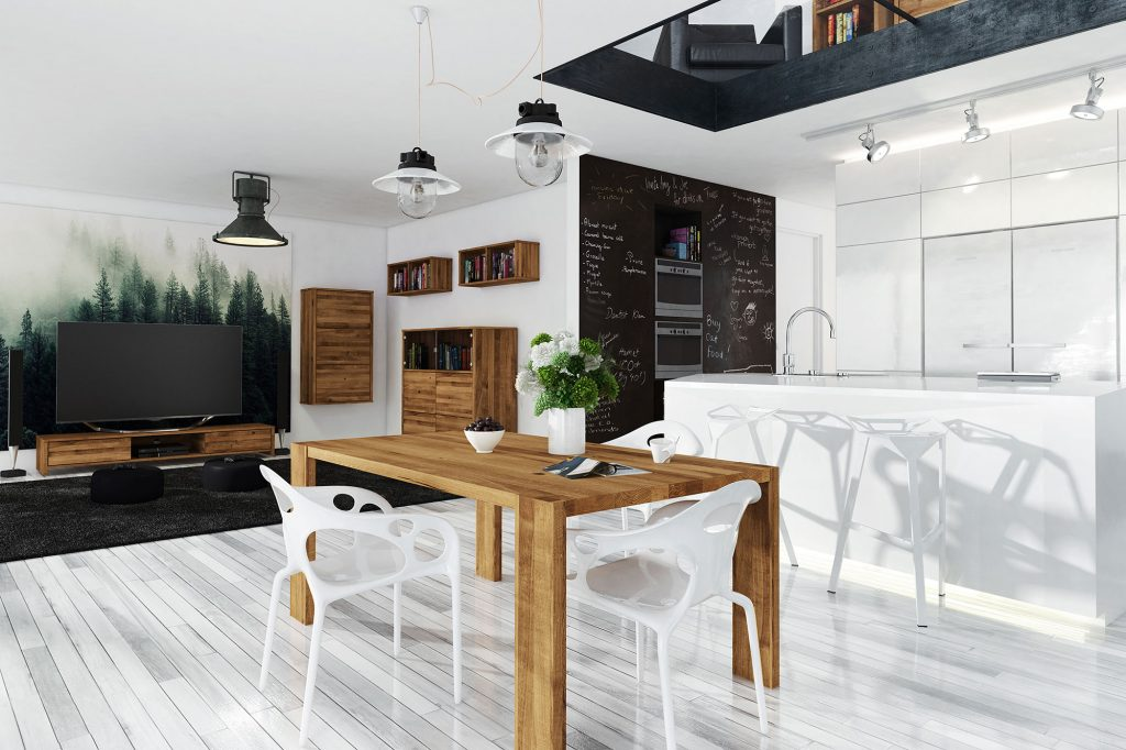 Kolekcja mebli drewnianych James - jadalnia, salon i kuchnia