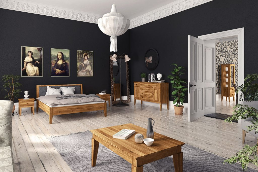 Ciemne tynki strukturalne - salon z meblami Odys