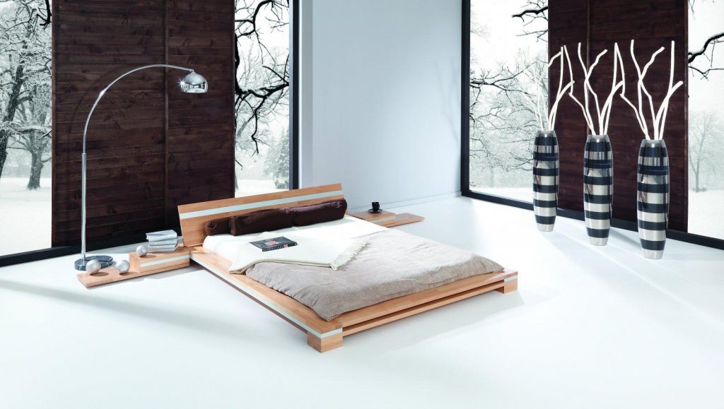 Łóżko i szafki nocne Toma - japońska aranżacja sypialni