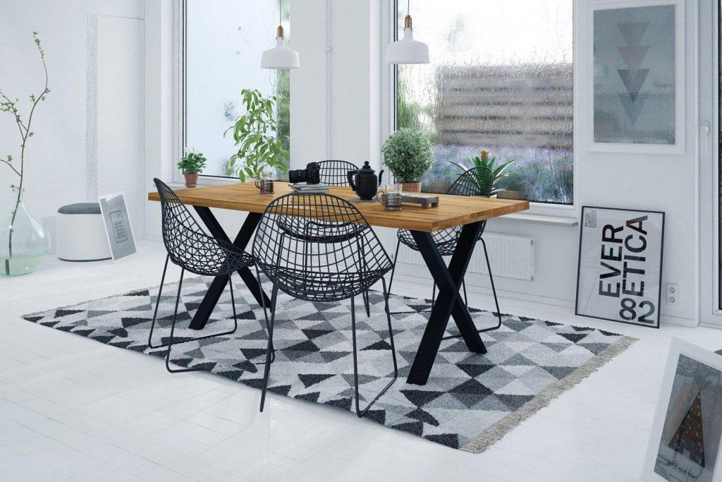 Styl rustykalny - stół z krzyżowanymi nogami z metalu