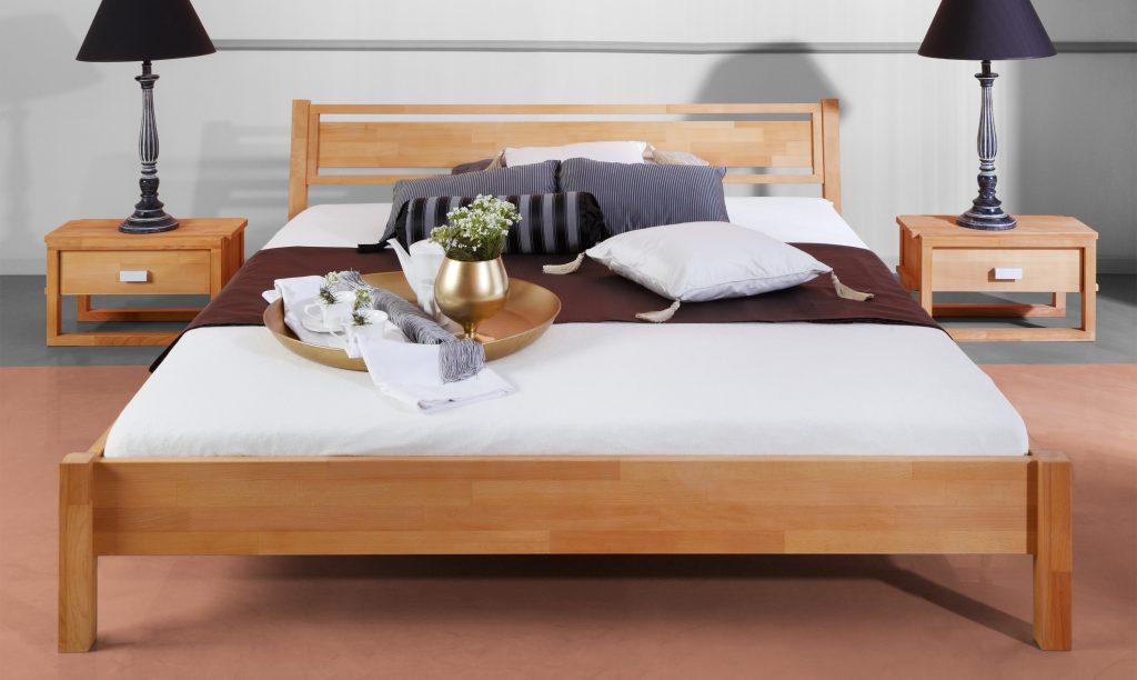 Aranżacja sypialni - łózko i szafki nocne z kolekcji Minimal