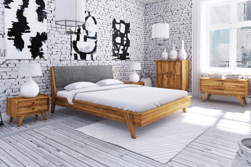 Strukturalne tapety imitujące cegłę - aranżacja sypialni z meblami Retro